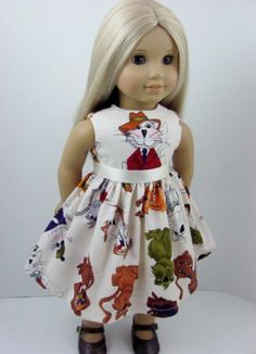 Fancy Felines Dress and Sash for the American by TheWhimsicalDoll2