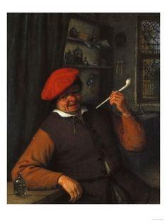 A Peasant in Red Beret Smoking a Pipe in an Interior Photo Mugs, Photo Gifts, A4 Poster, 500 Piece Jigsaw Puzzles, White Ceramics, Poster Size Prints, Berets, Smoke, Fine Art