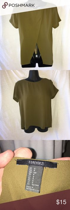 F21 | army green open back chiffon top Don't like the price?  Make me an offer!  Always willing to offer discounts on bundles. Forever 21 Tops Blouses