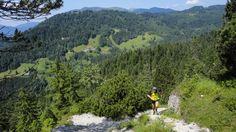 Wetterstein-Trailrun – Kälbersteig in Richtung Partnachtal mit Blick auf den Eckbauer, Juli 2013