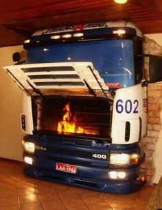 Hardcore fireplace made from old truck!