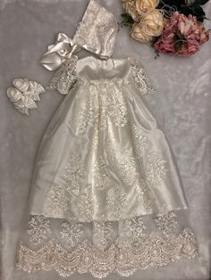 This is a handmade beautiful baptism gown and matching bonnet hat. Baby Christening Gowns, Baby Girl Baptism, Baptism Gown, Baptism Outfit, Christening Outfit, Baby Girl Dresses, Baby Dress, Flower Girl Dresses, Blessing Dress