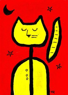 simply, a cat e9Art ACEO Minimalism Childlike Abstract Outsider Folk Brut Art Painting Illustration Drawing
