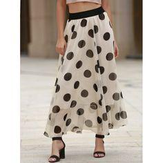 Graceful Polka Dot Chiffon Maxi Skirt For Women #jewelry, #women, #men, #hats, #watches