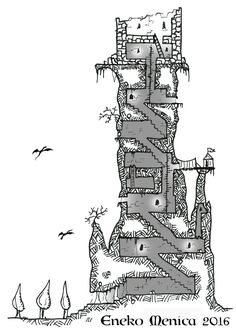 Map-Making in Games – tower cross section. Fantasy City, Fantasy Map, Medieval Fantasy, Dark Sun, Game Level Design, Dungeons And Dragons 5e, Map Layout, Dragon Rpg, Adventure Map