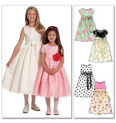 Flower girl dress options: Children's/Girls' Lined Dresses and Sash First Communion Dresses, Baptism Dress, Little Girl Dresses, Girls Dresses, Flower Girl Dresses, Flower Girls, Dirndl Dress, Sunday Dress, Girl Dress Patterns