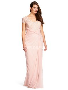 ba9507fdba  112.79-Unique Sheath Ruched V-Neck Chiffon Pink Plus Size Bridesmaid Dress  with Short