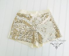 Gold Sparkly Shorts Sequin Birthday Outfit Photo by sugarshoppe