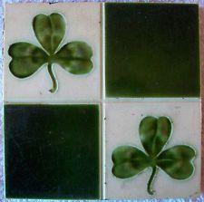 VICTORIAN ANTIQUE TILE quartered design with lucky green shamrock CELTIC APPEAL