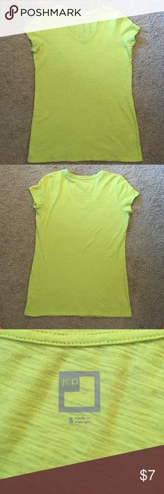 Neon v neck cotton shirt size S Capped sleeve v neck 100% cotton shirt. Bright green/yellow neon color. Looser fit. No tags but never worn. jcpenney Tops Tees - Short Sleeve