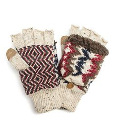 MUK LUKS---THEY HAVE GLOVES TOO?!?!?!  NEAT-O!!Loving this Ivory Americana Convertible Mittens on #zulily! #zulilyfinds