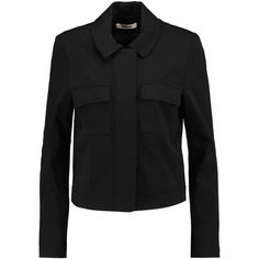 J Brand Palisades cropped cotton-blend twill jacket (4.827.240 VND) ❤ liked on Polyvore featuring outerwear, jackets, black, zip jacket, j-brand jacket, twill jacket, cropped jacket et j brand