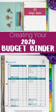 The 2020 BUDGET BINDER is Here! - The Simply Organized Home : Ready to take control of your finances? Get your 2020 Budget Binder here! Build your savings, plan for the future, and give yourself permission to spend! Excel Budget, Budget Spreadsheet, Budget Binder, Budget Planner, Happy Planner, Finance Organization, Coupon Organization, Organizing Clutter, Organization Ideas