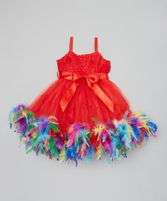 Look what I found on #zulily! Red & Rainbow Feather Dress - Infant, Toddler & Girls #zulilyfinds