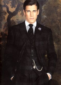 Ralph Lauren Purple Label/ Really like this plaid patterned suit w/ chain.