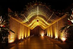 Wedding day calls for creativity and imagination, the classic wedding arch is a favorite among many. This is a great way to make your guests feel regal.  The soft glow of the lights, the head of the archway lend make the entire set beautiful. #ShlokaEvents #DestinationWedding #RoyalWedding #ShlokaWedding