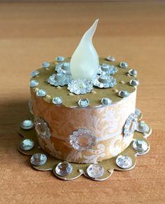 """Salted Caramel"" Tea Light Cake (made by Kim) Tea Light Lanterns, Tea Lights, Birthday Candles, Birthday Cake, Light Cakes, Paper Cake, Light Project, Craft Shop, Craft Fairs"