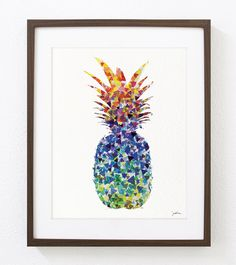 Pineapple Art Watercolor Painting - 8x10 Archival Print - Colorful Triangles Geometric Art - Silhouette Art Wall Decor, Kitchen Decor by ElfShoppe on Etsy https://www.etsy.com/listing/152989574/pineapple-art-watercolor-painting-8x10