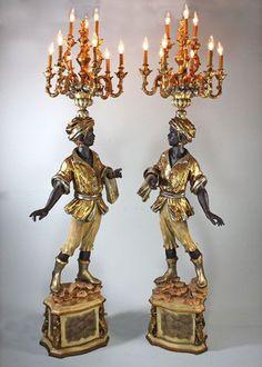 Blackamoor Lamp Pair w/ Gold by Jansen Furniture