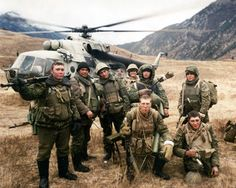 """Targim, Ingushetia December 1999 3 platoon of the 7th company and calculation of the HMG """"Utes""""."""