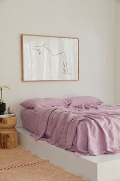 hues of purple, lilac french linen bedding. Pastel p. - Dreamy hues of purple, lilac french linen bedding. sustain -Dreamy hues of purple, lilac french linen bedding. Aesthetic i. Home Bedroom, Bedroom Decor, Queen Bedroom, Bedroom Ideas, Art For Bedroom, Lilac Bedroom, Royal Bedroom, Wall Decor, Bedroom Styles