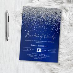 Royal Blue and Silver Birthday Party Invitation, Formal Glitter and Sparkles, Printed or Printable Invites, Sweet 16, Quinceanera, Any Age Sweet 16 Invitations, Baby Shower Invitations For Boys, Elegant Invitations, Printable Invitations, Invitation Design, Invites, Gold Birthday Party, Birthday Party Invitations, Royal Blue And Gold