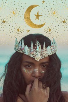 Mermaid Crowns Corina Brown on Etsy See our or tags Coachella, Mermaid Crown, Mermaid Bra, Crown Drawing, Diy Crown, Queen Costume, Photography Challenge, Boho Hairstyles, Festival Outfits