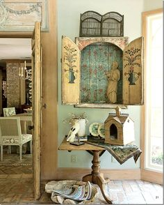 Home Decor Diy love the little cabinet - one of 8 picks for this week's Friday Favorites - Living Vintage.Home Decor Diy love the little cabinet - one of 8 picks for this week's Friday Favorites - Living Vintage French Country Rug, Rustic French, French Cottage, Shabby Cottage, French Country Decorating, French Decor, Romantic Cottage, French Chic, Cottage Curtains