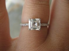 Love this Asscher Cut Engagement Ring. Vintage and elegant.