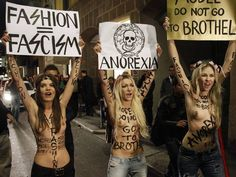 "'Founded back in 2008, Femen first hit the headlines with a demonstration against prostitution and sex tourism in Ukraine. With the slogan ""Ukraine is not a brothel"", the women dressed as brides and ripped their clothes off' - The Independent"