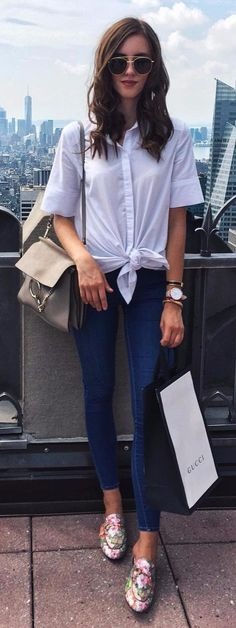 office outfit idea white shirt + jeans