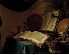 Jan Vermeulen, Stilleven met boeken, een globe en muziekinstrumenten. 1660. Museum Het Mauritshuis, Den Haag, Nederland.
