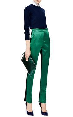 Magnitude Color-Blocked Wool and Silk-Satin Pants by Ellery - Moda Operandi