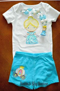 Cinderella Princess Inspired Embroidered Applique T-Shirt and Matching Shorts Set