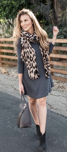 Angela Lanter Rib Knit Cowl Shift Dress - Leopard Print Scarf - Similar Black Booties - Zac Zac Posen Handbag