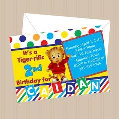DANIEL The Tiger - BIRTHDAY Party Printable Invitation - Personalized- on Etsy, $7.00