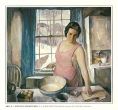 Painting by N.C. Wyeth  1930    Mrs. N.C. Wyeth in the Kitchen
