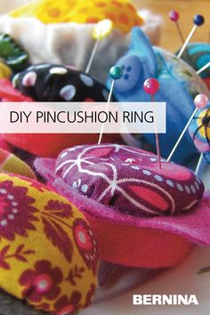Learn how to make these sweet little pincushion rings with this free tutorial from #WeAllSew. #pincushion #sewing #sewingproject