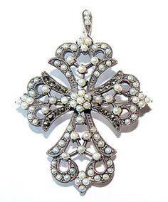 Indo-American Art Deco pearl cross