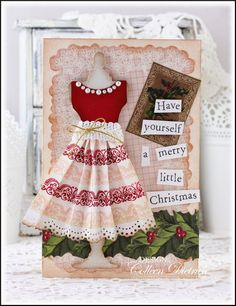Christmas Party Dress | Dietrich Designs - Holiday card featuring Sizzix Dress Form die, dressed up with pleated skirt made with Technique Tuesday 'Bijou Borders' stamps.  The sentiment, 'have yourself a merry little christmas', is from Purple Onion Designs.