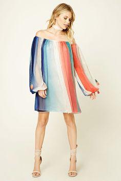 Multi-Color Open-Shoulder Dress