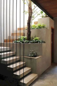 Modern Staircase Design Ideas - Browse photos of modern stairs and also discover design and layout ideas to motivate your very own modern staircase remodel, consisting of distinct railings and storage . Home Stairs Design, Home Interior Design, Stair Design, Diy Interior, Luxury Interior, Interior Garden, Design Interiors, Modern Interior, Interior Decorating