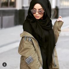 Military khaki hijab style