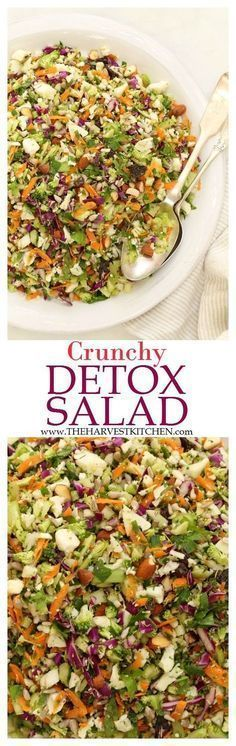 Ready for some salad love? This Crunchy Detox Salad is an ultra simple recipe both for the salad and its dressing. It's made with fresh, local and organic ingredients that are crisp and bursting with flavor. | healthy recipes | | cleaning eating | | detox salads | | detox recipes |
