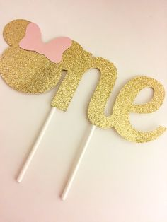 Pink and Gold Minnie One Cake Topper // Gold and Pink Minnie