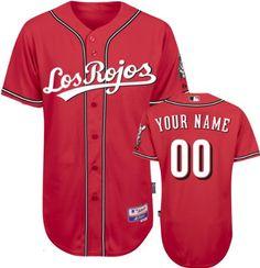 "Cincinnati Reds Jersey: Personalized Alternate Scarlet ""Los Rojos"" Authentic Cool Baseâ""¢ MLB Jersey - http://www.redsball.com/cincinnati-reds-gear/cincinnati-reds-jersey-personalized-alternate-scarlet-los-rojos-authentic-cool-basea%c2%a2-mlb-jersey/"