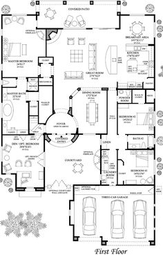 Love the plan! The Plan, How To Plan, Dream House Plans, House Floor Plans, My Dream Home, Dream Homes, Courtyard Entry, Courtyard House Plans, House Layouts