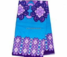 Cerulean Blue Quality Glitter African Fabric/ by TessWorldDesigns