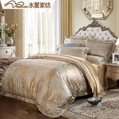 Free shipping!Mercury Home Textile Earl's Manor 100% silk bedding set with 4 pcs bed sheet duvet cover.Hot sale!