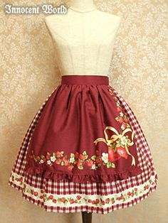 Annette Skirt (アンネッテスカート) by Innocent World in Red or Mint, Either length.